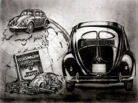 VW Brezelkäfer / Radierung 1161