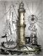 Radierung / Warnemünder Leuchtturm 2122