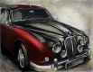 Radierung / Jaguar MK II in Rot