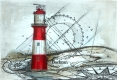 Borkumer Leuchtturm - Radierung - 1261