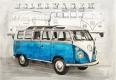 Radierung / VW SAMBA BUS T1 BLAU